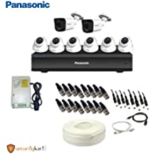 Panasonic 2 MP CCTV Camera kit with 6 Dome Camera, 2 Bullet Camera, Power Supply, 8 CH DVR and 90 m Cable with Connectors (White)