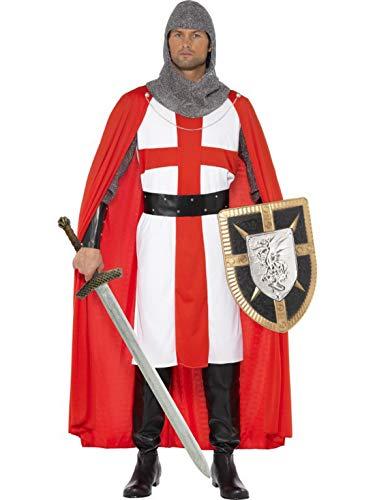 costumebakery - Herren Männer St. George Helden Ritter Kostüm mit Tunika, Umhang, Kopfbedeckung, Stulpen und Gürtel, perfekt für Karneval, Fasching und Fastnacht, M, Rot