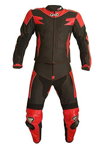 biesse - tuta da moto per adulto in pelle e tessuto, divisibile in 2 pezzi giacca e pantalone, regolabile, colore nero/rosso, taglie xs - 4xl, completa di protezioni ce (nero/rosso, s)