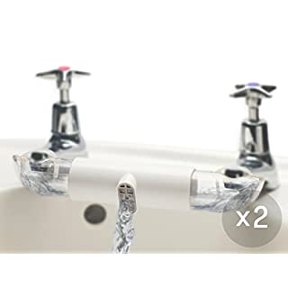 RETROMIXER Twin Pack: water saving mixer / adapter for sinks with separate taps for hot and cold water in kitchen & bathroom (ceramic white)