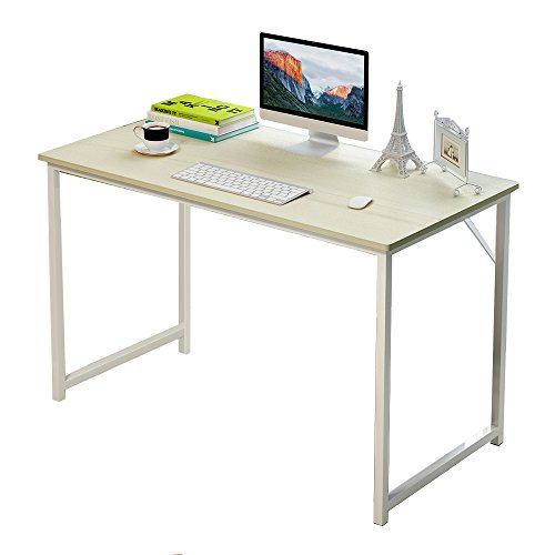 Soges Schreibtische 120 cm Computertische PC-Tisch Bürotisch Arbeitstisch Esstisch Holz, Ahornfarben