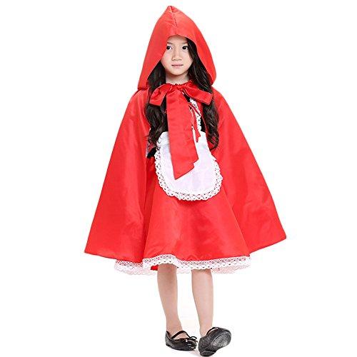 Hallowmax Rotkäppchen-Kostüm für Mädchen Little Red Riding Hood Cosplay Halloween Fasching (Little Red Riding Hood Kostüm Für Mädchen)