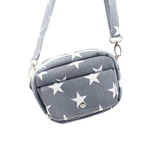 Leinwand Tri-fold Wallet (Kolylong Frauen Sternmuster Handtasche Schultertasche Mini-Geldbörse (16*13*5.5cm/6.3*5.1*2.2