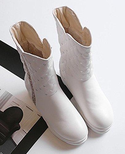 Blanc Chaud Femme Strass Neige Mode Plat Aisun Chaussures De Bottes xUZnqYwqA4