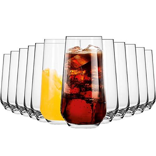 Krosno Wassergläser Longdrinkgläser Trinkgläser | Set von 12 | 480 ML | Splendour Kollektion | Perfekt für zu Hause, Restaurants und Partys | Spülmaschinenfest und Mikrowellengeeignet