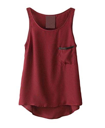 Smile YKK Vogue See-through Femme T-shirt sans Manche Sexy Top en Chiffon Bordeaux