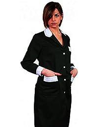 Bata para mujer para trabajo de limpieza. Vestimenta par empleada doméstica de algodón, negro, 46