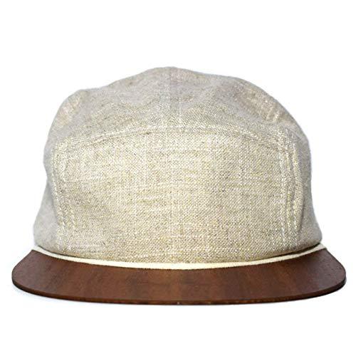 Leinen Cap beige mit edlem Holzschild Made in Germany - Cap für Damen & Herren - Sehr leichte & bequeme Kappe - One size fits all Snapback Cappy