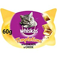 Whiskas Temptations Cat Treats with Chicken and Cheese, 60 g (Pack of 8)