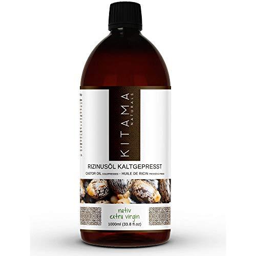 Kitama Rizinusöl kaltgepresst nativ 1000ml (1 Liter) - natürliches Öl vegan und gentechnikfrei