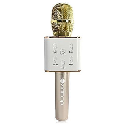 adtrip Bluetooth Karaoke Mikrofon Mini Handheld mcirophone kompatibel mit Apple iPhone Android Smartphone PC