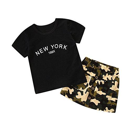 Amlaiworld Conjuntos Ropa Bebe Verano Camisa de Manga Corta con Estampado de Letras para niñas + Faldas de Camuflaje Conjunto de Trajes