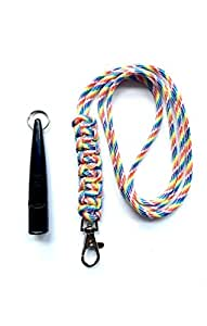 Acme 211.5 Dog Whistle & Lanyard with Cobra Stitch Knot 3mm in Rainbow