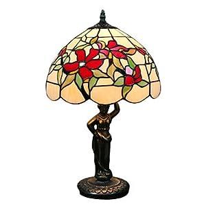 Lampada da tavolo vintage con fiore rosso e verde foglia pattern-dea pole corpo da Lampade
