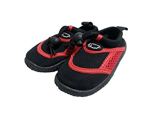 Aqua Chaussures de piscine/plage en néoprène pour chaussures de plongée adulte & de l'usine Rose/Bleu/Rouge Multicolore - noir/rouge