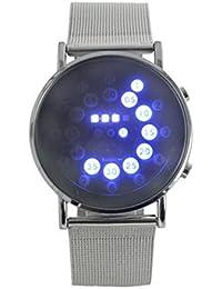 Montre LED Homme Femme Lacaca LED Miroir Rond Bleu Cercles Acier inoxydable Montre bracelet Argent