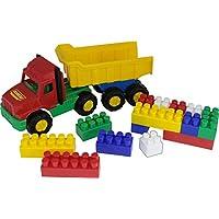 """Polesie 4239 70"""" Favorite Dump Truck Builder Construction, 17 Elements-Set with Vehicles, Multi Colour"""