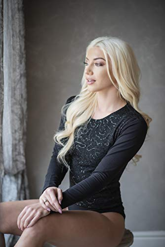 Evoni Damenbody |Langarmbody für Frauen |Langarmshirt Bodysuit| 3 Verschluss Haken|Basic Frauen Body Baumwolle | Lederbody | Samtbody (XL, Carbon-Schwarz) - 2