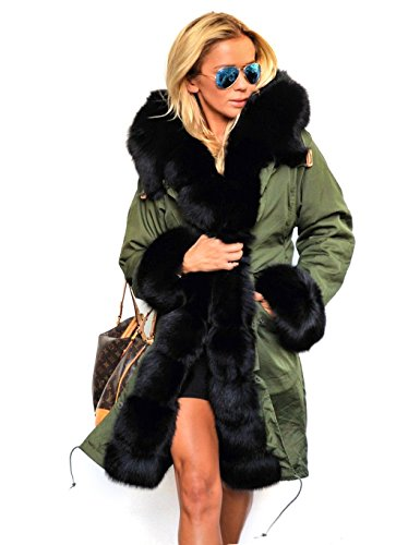 SOTEER Damen Wintermantel Schlanke Lange Winterjacke Trenchcoat Kunstpelz Gefüttert Warm Stylisch Camouflage S-XXXL