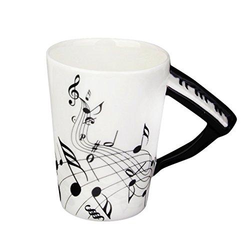 Sharplace Kreativer Musik Becher mit Klavier Griff und Schwarzem Note Muster, aus Porzellan , Ideal für Weinachten Geschenke