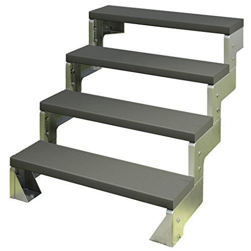 DOLLE Außentreppe Gardentop mit 2 Stufen │ Geschosshöhe: 36-44 cm │ Trimax® Stufenauflage Anthrazit │ ohne Geländer