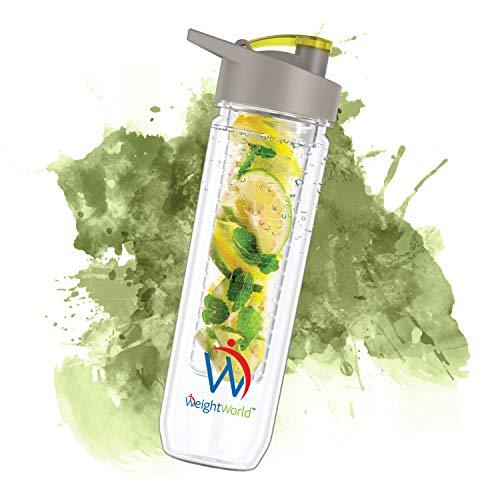 Bottiglia Acqua Aromatizzata con Infusore Frutta 800ml - Bottiglia In Plastica Riutilizzabile Senza BPA per Acqua Detox con Filtro - Per Lavastoviglie, Accessori Viaggio/Palestra/Ufficio - WeightWorld
