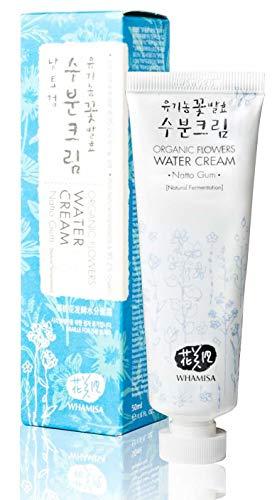 WHAMISA Organic Flowers Water Cream - Leichte Gesichtscreme Damen mit Botanischen Extrakten für extra Feuchtigkeit und lange Hydration der Haut - Feuchtigkeitscreme Frauen Gesicht aus Korea - 50ml