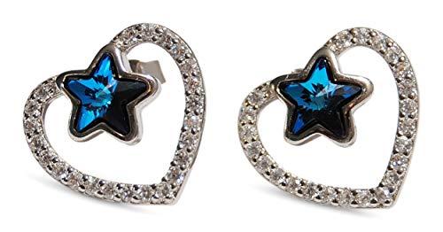 86b544a75879 DIVADIS Pendientes Corazón y Estrella en Plata de Ley con Cristales de  Swarovski