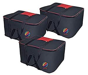SNDIA Wardrobe Organizer Clothes & Blanket Nylon, Large Black & Red Storage Bag (SET OF 3)