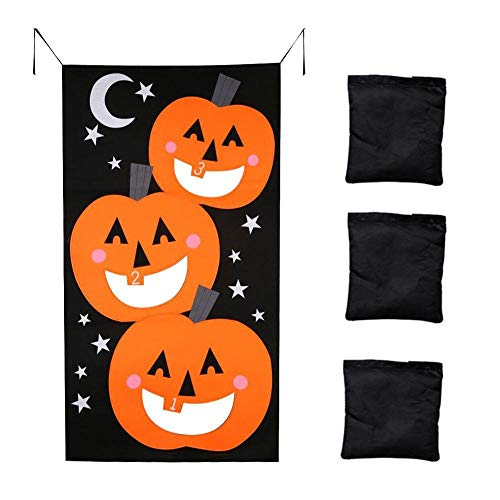 Halloween Kürbis Sitzsack Wurf Spiele 3 Sitzsäcke Kürbis Ornamente Filz Spiel Werfen Sandsäcke Banner Halloween Spiele Für Kinder Party Halloween Dekorationen Halloween Party Dekor Lustige Requisiten