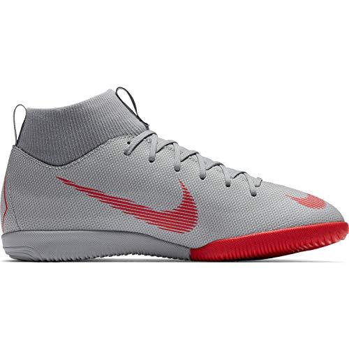 Nike Unisex-Kinder Mercurial SuperflyX VI Academy Indoor Fußballschuhe, grau/rot, 36.5 EU (Nike Schuhe Kinder Mercurial)