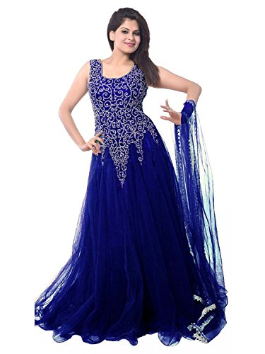 FenaPrime Women\'s Blue Net Anarkali Dress Material HFP1105