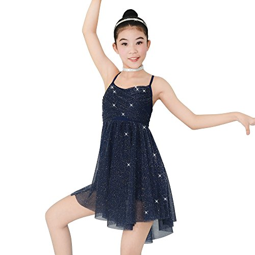 MiDee Mädchen Glitzer Knielänge Kleid Lyrical Latin Dance Kostüm (Marineblau, XSC)