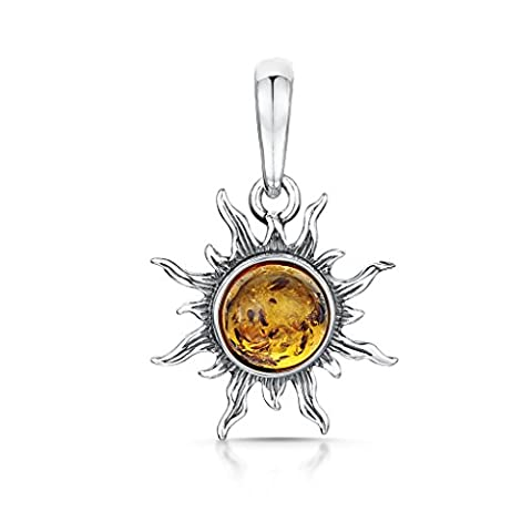 Amberta 925 Sterling Silver with Baltic Amber – Sun Pendant
