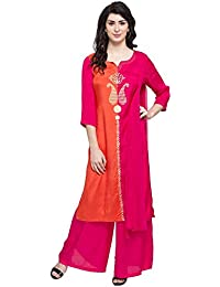 Kashish By Shoppers Stop Womens Round Neck Block Palazzo Suit