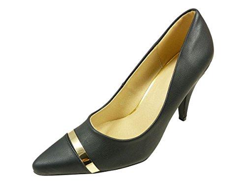 Chaussures escarpins femme pointus à talons hauts et liseret doré Noir