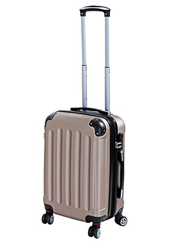 P-Collection Koffer Trolley Handgepäck Reisekoffer Hartschalenkoffer Zwillingsrollen M-L-XL-Set Dehnungsfuge 5 Farben (Champagner Größe M)