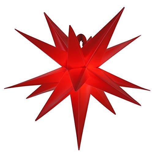 LED - Adventsstern für außen 55cm Komplettset Gartenstern 3D- Weihnachtsstern Außenstern Faltstern rot