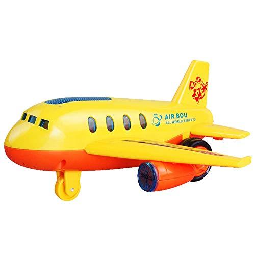 Aereo giocattolo,Bambini Cute Cartoon LED lampeggiante simulazione aeromodello con musica Inertia Aereo giocattolo colore casuale