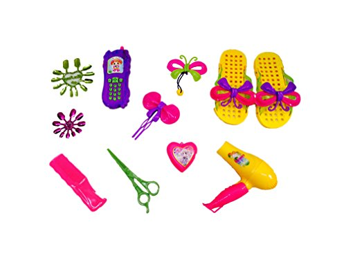 Blossom Fashion Play Set with Mobile, Hair Dryer, Comb, Scissors & Other Accessories for Girls, Multi Color