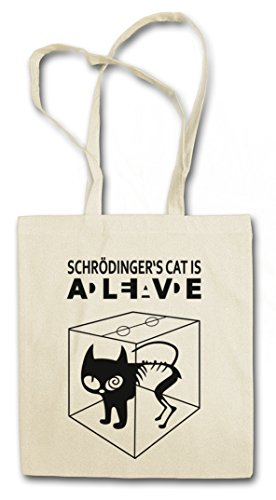 SCHRÖDINGERŽS CAT IS ALIVE DEAD I Hipster Shopping Cotton Bag Borse riutilizzabili per la spesa - gatto The Big Schroedinger chat TV Bang Theory Geek Nerd