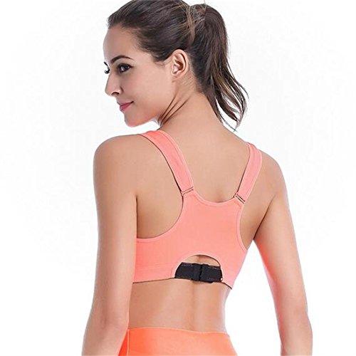 Glield Active Zippé Plunge Support Dos Nageur Femme Soutien Gorge De Sports Orange