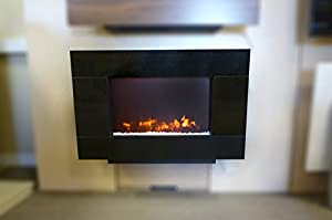 Be Modern Corvo Wall Mounted Electric Fire in Black Granite Fascia 2kw