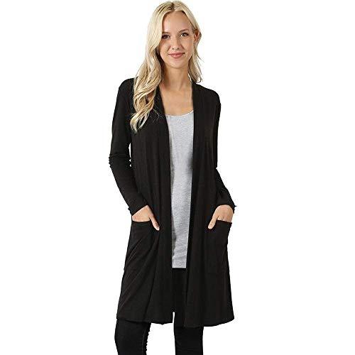 ZHRUI Damen Open Front Fly Away Cardigan Pullover Langarm Plus Taschen lose Drape Coat (Farbe : Grau, Größe : CN 2XLUK 14) -