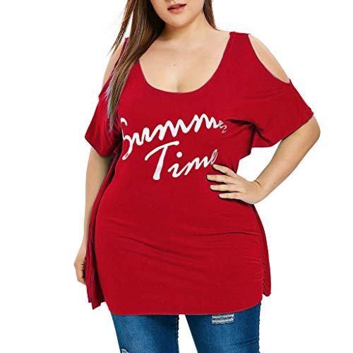 Zegeey Damen T-Shirt Damen GroßE GrößEn Kurzarm Rundhals Oberteil Blusen Shirts Tops Mit Drucken Schicker LäSsige Lose (rot,EU-52/CN-5XL)