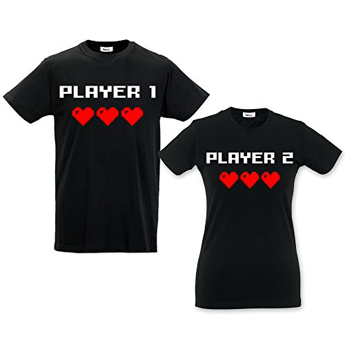 Coppia di t-shirt you and me idea regalo per san valentino player nere uomo s - donna s