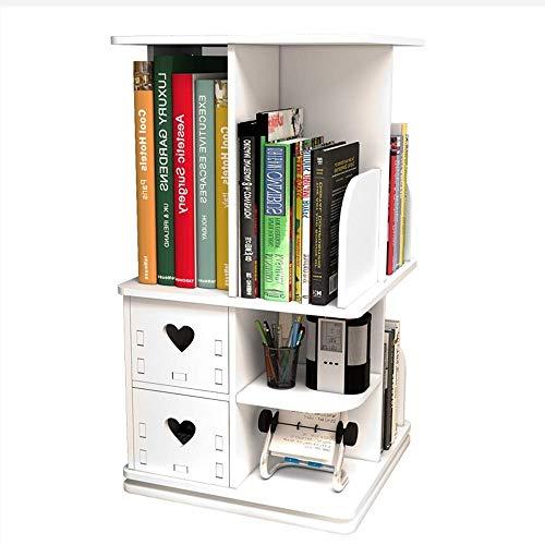 JHUEN Multifunktionales 360 ° Drehbares Bücherregal Holzverbundplatte Einfache Weiße Mehrlagige...