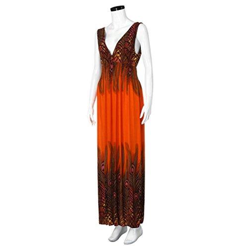 Bluestercool Femmes Robe Peacock Print Semelle Robe Boho Fête des soeurs Longues Robe Maxi Orange