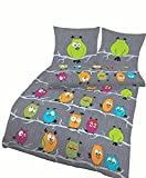 Soma Biber Bettwäsche 4 teilig Bettbezug 135 x 200 cm Kopfkissenbezug 80 x 80 cm Eule grün orange grau