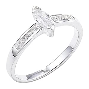 Sterling Silver Marquise Cubic Zirconia Ring - Size J